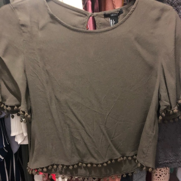 Forever 21 Tops - Olive green Cropped Shirt